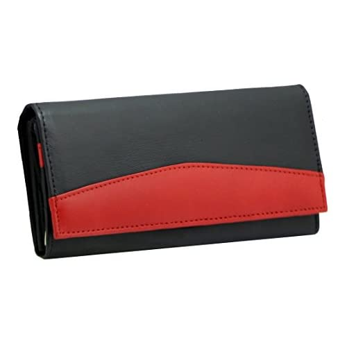 Ladies Luxury Soft Black Red Real Napa Leather Long Flap-over Purse Multi Credit Card Wallet with 2 Inner Zip...