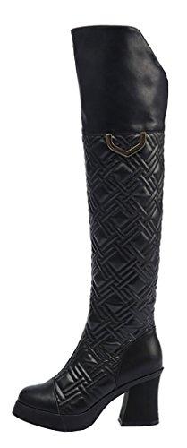 Laikajindun Women'S Snow Boots Jackboots Fashion Mid-High-Heels Shoes Lk-A1611 (6 B(M) Us, Black)