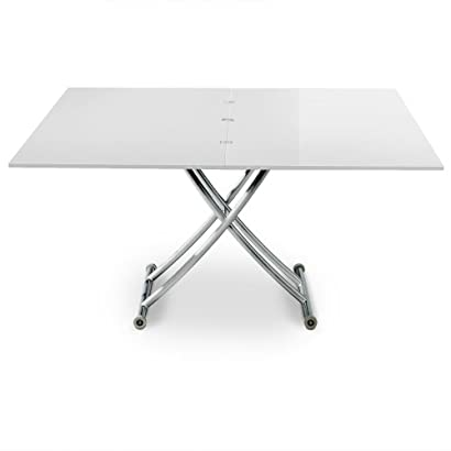 Menzzo B2219 Contemporain Carrera XL Table Basse Relevable Bois Inox Laqué  Blanc 75 120 d5a301cd3884