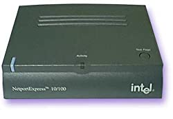Intel Netport Express 10/100 Single Port Print Server - Ethernet 10BaseT 100BaseTX Multi protocol 1 parallel port w/486 embedded processor & 2 meg print buffer - Includes Printer Server Unit - Power Supply (Universal voltage) - Manual and Driver CD (English) - NO POWER CORD INCLUDED - Works with older printers - Compatible with Netware, Windows NT, Windows 95/98/ME/2000/3x, Linux, UNIX, Macintosh OS/2, AS/400