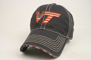Legacy Virginia Tech Hokies Navy USA Flag Adjustable Slouch Hat Cap by JAGZ