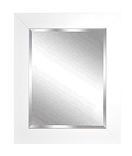 American Made Rayne White Satin Wide Beveled Wall Mirror, 41.5 X 35.5 front-796125