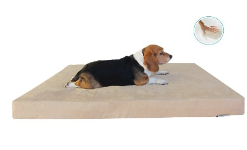 "Orthopedic Waterproof Memory Foam Pad Dog Bed With Tan Washable Suede Case + Bonus Cover - Fit 48""X30"" Xl Crate"