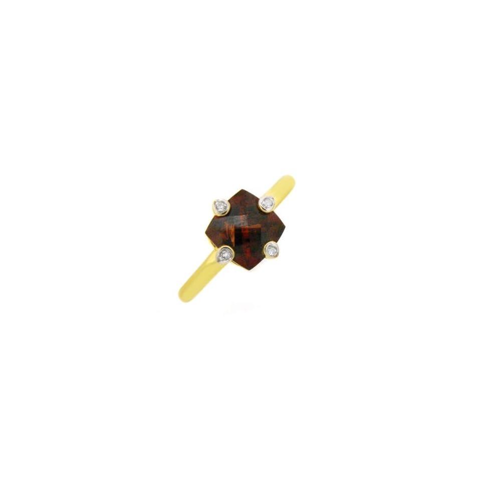 9ct Yellow Gold Blood Red Garnet & Diamond Ring Size 7