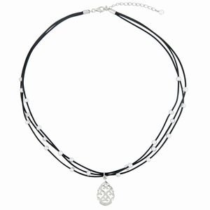 3 strand black leather necklace with sterling silver charm and white freshwater pearls. 17