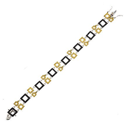 Luxurious Sterling 925 Silver Bracelet Featuring Yellow & Black CZ Diamonds Square Links - Incl. ClassicDiamondHouse Free Gift Box & Cleaning Cloth