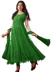 Green Anarkali Semistitched Dress Material