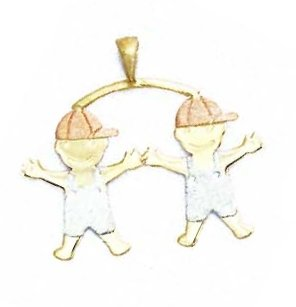 14k Two-Tone Boy-Boy Pendant - JewelryWeb