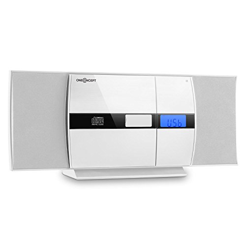 oneConcept V-15 Mini Impianto Stereo con lettore CD verticale (Sintonizzatore Radio OUC, USB MP3, Sveglia, AUX, telecomando) Bianco