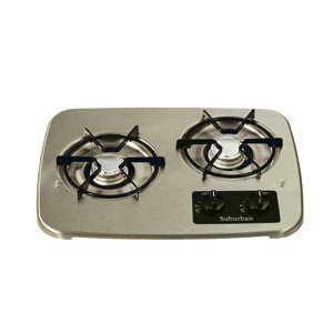 Rv Lp Propane Tank Drop-In Cooktop Gas Range Stainless Cover 2 Burner