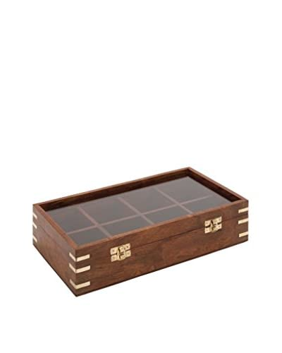 Wooden Box with Glass Lid, Brown/Multi
