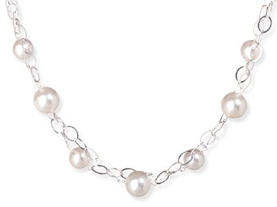 Sterling Silver 16 Inch+2 Inch Extention Double Strand White Glass Pearl Necklace - JewelryWeb
