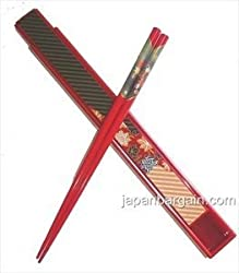 Japanese Travel Portable Chopsticks W/ Case Red 9611