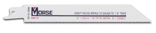M.K. Morse RB618T50 6-by-3/4-by-0.035-Inch 18 TPI Bi-metal Reciprocating Saw Blade, 50-Pack