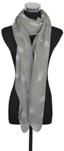 Large Grey with White Owl Print Chiffon Scarf or Sarong