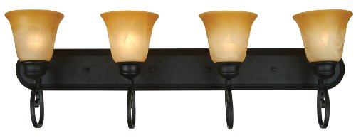 Yosemite Home Decor 93894-4Vb Royal Arches Bathroom Vanity With Tuscan Sunset Shades, 4-Light, Venetian Bronze