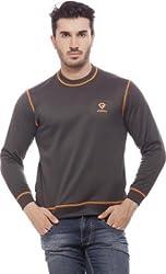 Gypsum Solid Mens Round Neck Sweat T-Shirt (Dark Grey)
