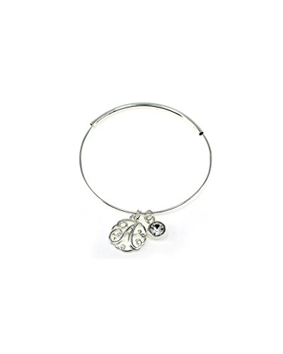 """A"" Monogram Charm Adjustable Bangle Silvertone Bracelet By Jewelry Nexus front-707555"