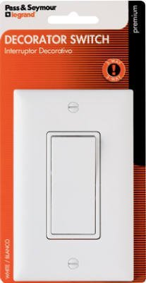 Pass & Seymour Tm873Wccc5Wp 3 Way Premium Grade Decorator Quiet Switch, 120/277V, 15-Amp, White