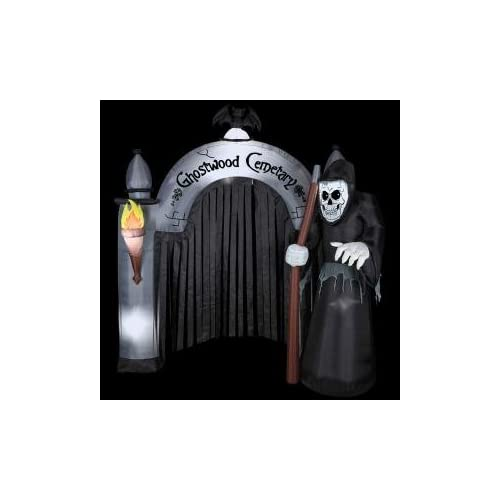 HALLOWEEN DECORATION LAWN YARD INFLATABLE AIRBLOWN REAPER CEMETERY ARCHWAY 8 TALL