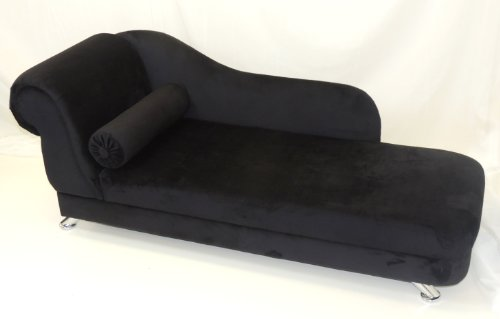 BLACK VELVET MINI CHAISE LONGUE WITH CHROME LEGS (R/H)