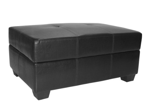Epic Furnishings 36 by 24 by 18-Inch Storage Ottoman Bench, Leather Look Black