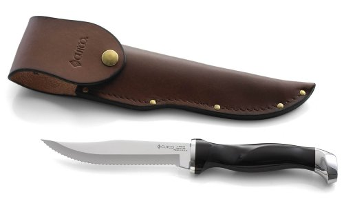 "Cutco Model 1769 Hunting Knife With Leather Sheath In White Cutco Gift Box..........Classic Brown Handle (Sometimes Called Black)..............5-3/8"" Double-D® Serrated Blade"