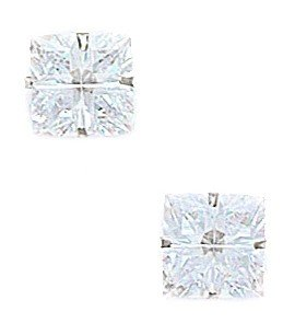 14k White Gold 8x8mm 4 Segment Square CZ Light Prong Set Earrings - JewelryWeb