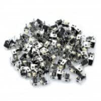 Nylon PP6 DC 12V 50mA Tact Switch - Black + Silver (100-Piece Pack / 6 x 3 x 6mm)