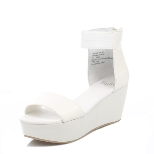 Shellys Donna bianco Magni Flatform sandali-UK 6