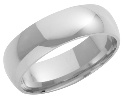 Wedding Ring, 9 Carat White Gold Heavy Court Shape, 7mm Band Width