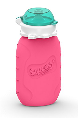 Squeasy Snacker 6oz Silicone Reusable Food Pouch (Pink) - 1
