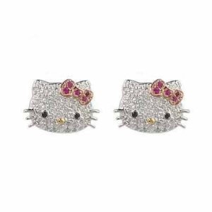 Adorable Silver Tone Kitty Crystal Glass Stud Celebrity Teen Earrings with Pink Bow