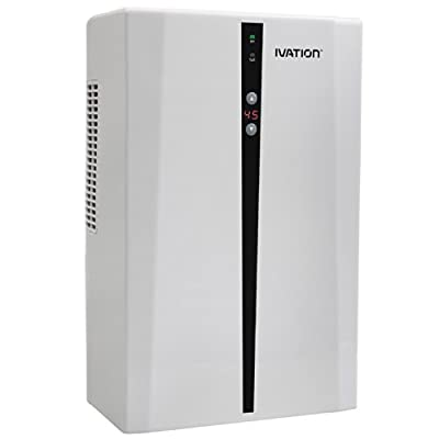 Ivation Powerful Mid-Size Thermo-Electric Intelligent Dehumidifier w/Auto Humidistat - Quietly Gathers Up to 25 oz. of Water per Day - Great for Bath, Laundry and Bed Room, Basement, Attic, RV, Antique Car etc. - For Spaces Up to 2,200 Cubic Feet