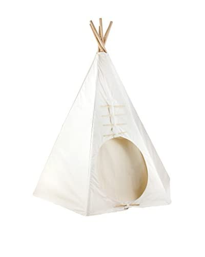 Dexton Kid's 7.5′ Powwow Lodge Round Door Teepee, Natural