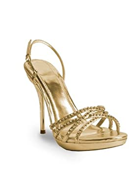 Clarisse Elegant and Glamorous High Heel Shoe with Rhinestones, Gold, 6