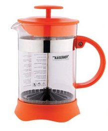 Teapot tea maker coffee maker coffee pot / plunger pot of glass / plastic orange 350 ml French Press