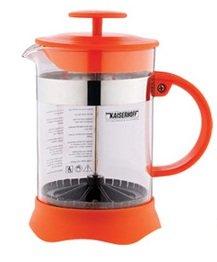 Teapot tea maker coffee maker coffee pot / plunger pot of glass / plastic orange 350 ml French Press
