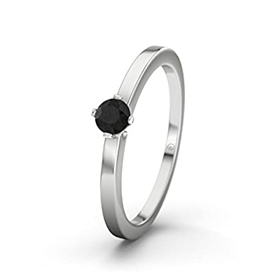 21DIAMONDS Women's Ring Detroit Black Round Brilliant Cut Diamond Engagement Ring - Silver Engagement Ring