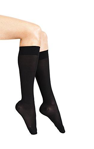 ITA-MED Sheer Knee Highs, Compression(20-22 mmHg), Black, Medium
