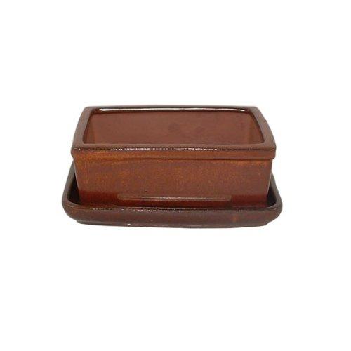 16cm Bonsai Pot and Tray Set - Brown Glazed