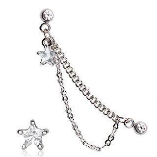 Gekko Body Jewellery Surgical Steel 16 Gauge (1.2mm) Double Chained Clear CZ Star Cartilage / Helix Earring Stud