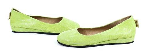 French Sole Leather Zeppa Wedge Slip On Shoes Lemon Cartizze