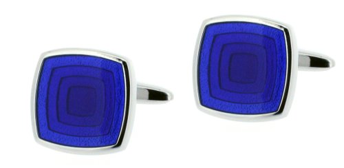 Code Red Base Metal Rhodium Plated Cufflinks with Blue Enamel