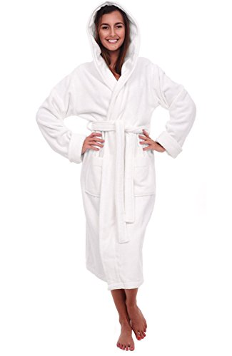 Del Rossa Women's Turkish Terry Cloth Robe, Thick Hooded Bathrobe, Small Medium White (A0105WWHMD) (Hooded Terry Cloth Robe For Women compare prices)