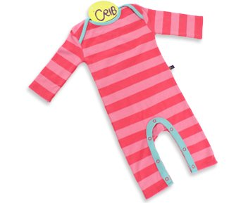 Crib Raspberry Sorbet Stripe Playsuit