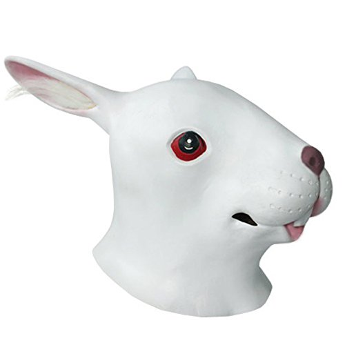 O'plaza® White Rabbit Head Mask Halloween Party Adult Mask