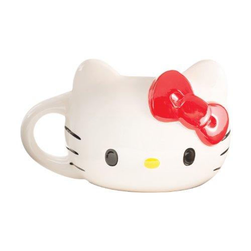 Vandor 18001 Hello Kitty Sculpted Ceramic Mug, White, Red, Black, And Yellow
