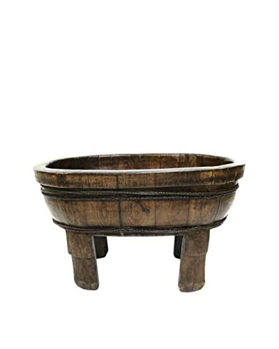 Asian Loft Antique Elm Wash Basin on Stand, Brown