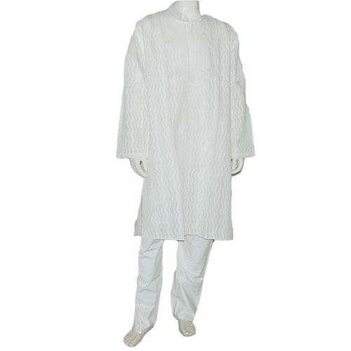 Yoga Clothing Embroidered Kurta Pajama Long Sleeve Cotton Size L Chest :106 Cms